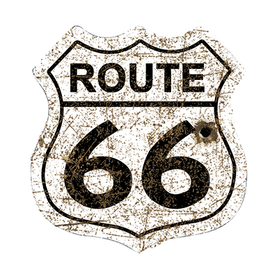 R66013 – Route 66 Shield White Rusty – 16″x16.5″