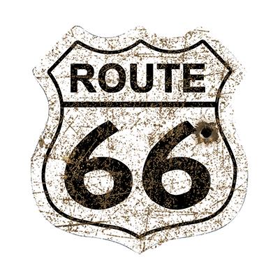 R66013 – Route 66 Shield White Rusty – 16″x16.5″
