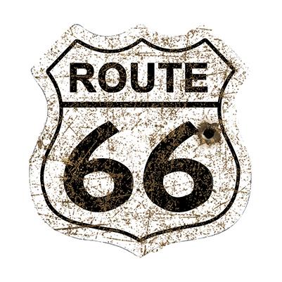 R66014 – Route 66 Shield White Rusty- 29.5″x30.5″