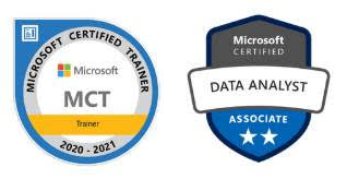 Microsoft Certified Trainer and Data Analyst Associate badge