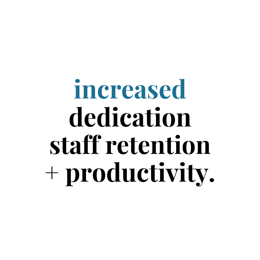 increased dedication, staff retention and productivity