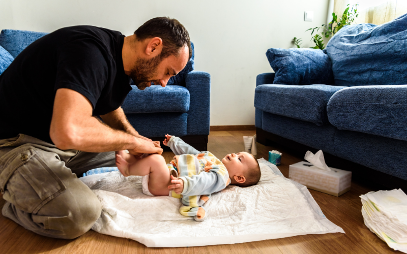shared parental leave, man with baby