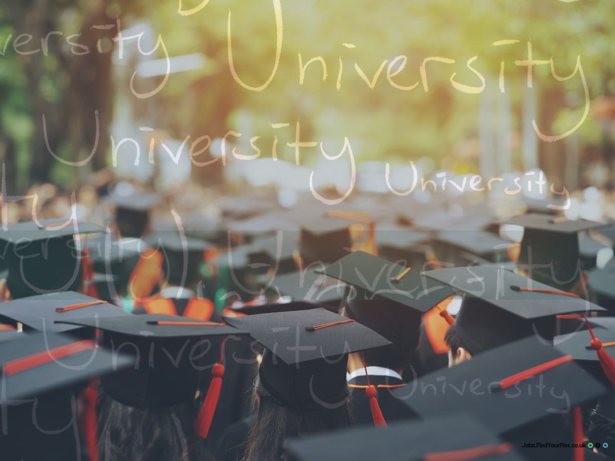 A large crowd with university caps