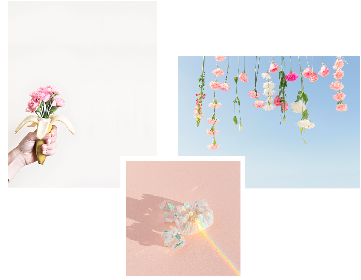 3 pastel photographs for Maria Marie website