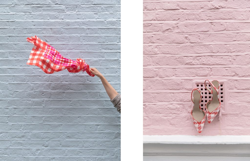 Creative photography and styling for Ann Taylor in pastel houses of Notting Hill London