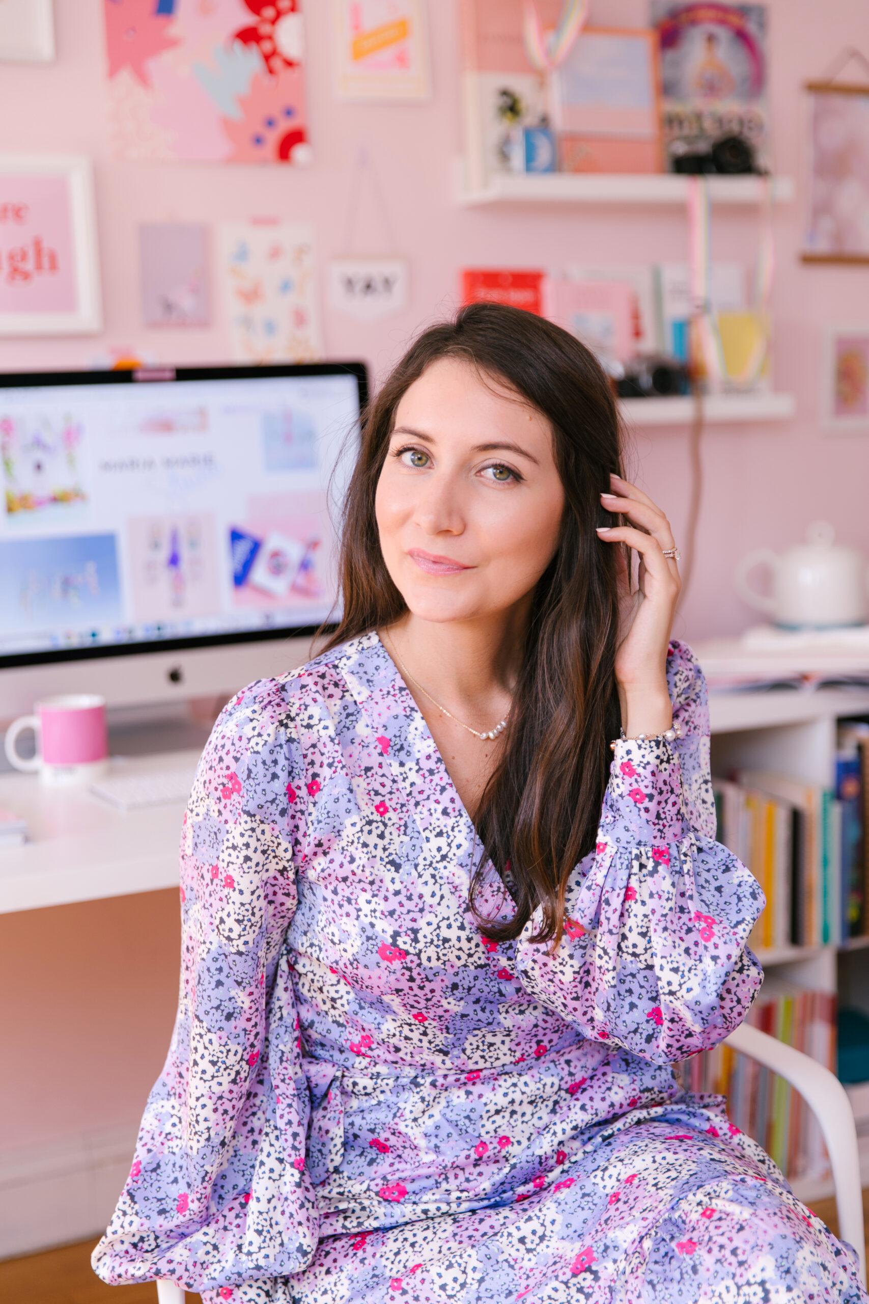 Marioly Vazquez posing in Maria Marie pastel studio