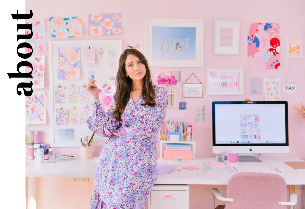 Marioly Vazquez in her pastel coloured design studio in London
