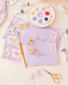 postales creativas hechas en gouche llenas de color y de creatividad por mariamarie