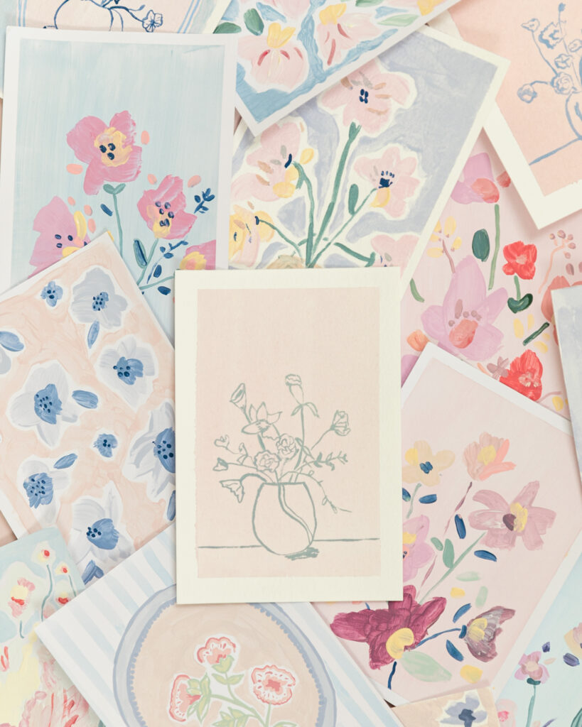 creative feminine pastel floral postcards created by maria marie cestmaria in a creative women's circle for snail mail