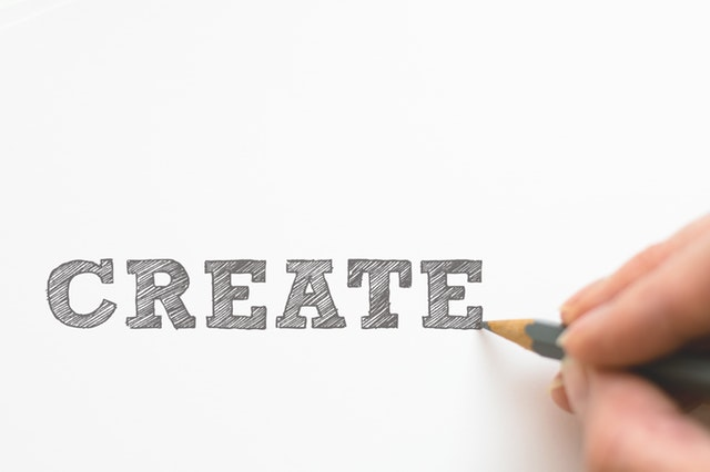 Drawing of the word create