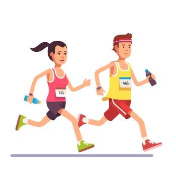Fit couple running a marathon together - Designed by Freepik