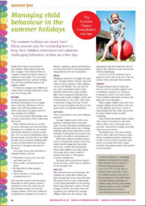 Managing Child Behaviour in the Summertime