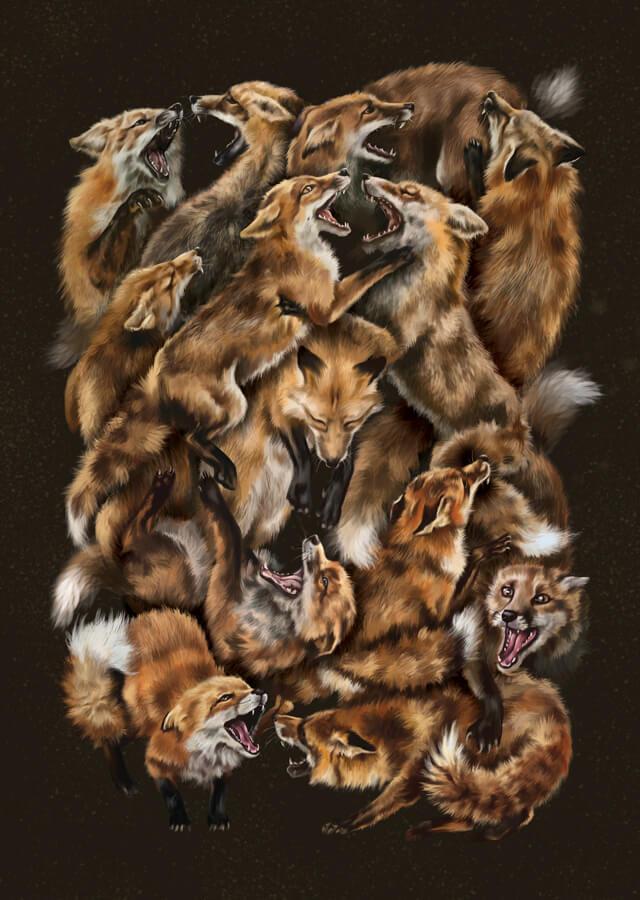 Foxforce Digital Painting Fox Print
