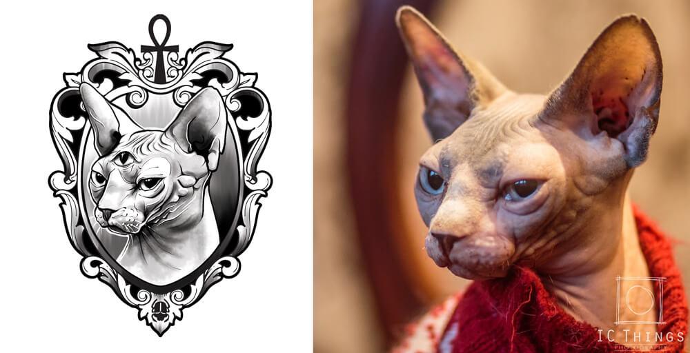 Sphinx Cat Drawing Tshirt