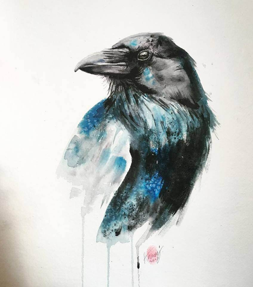 Raven Watercolour Painting