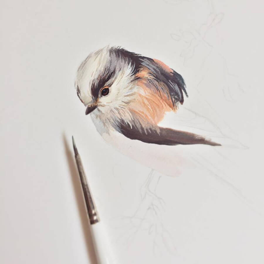 Long Tailed Tit Bird Painting