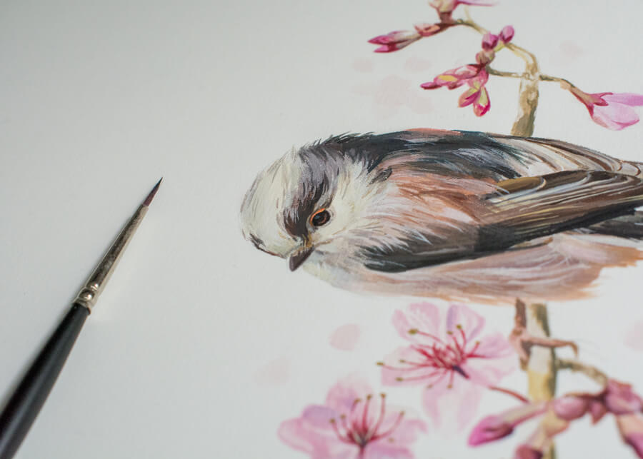 Long-tailed tit bird art