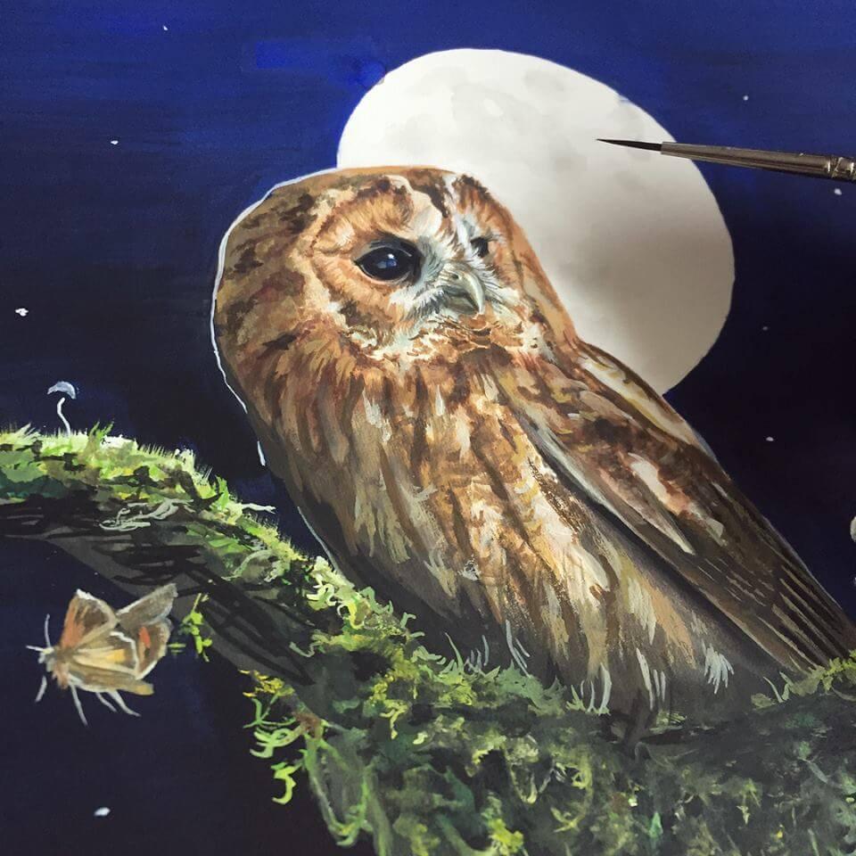 Tawny Owl Painting Art