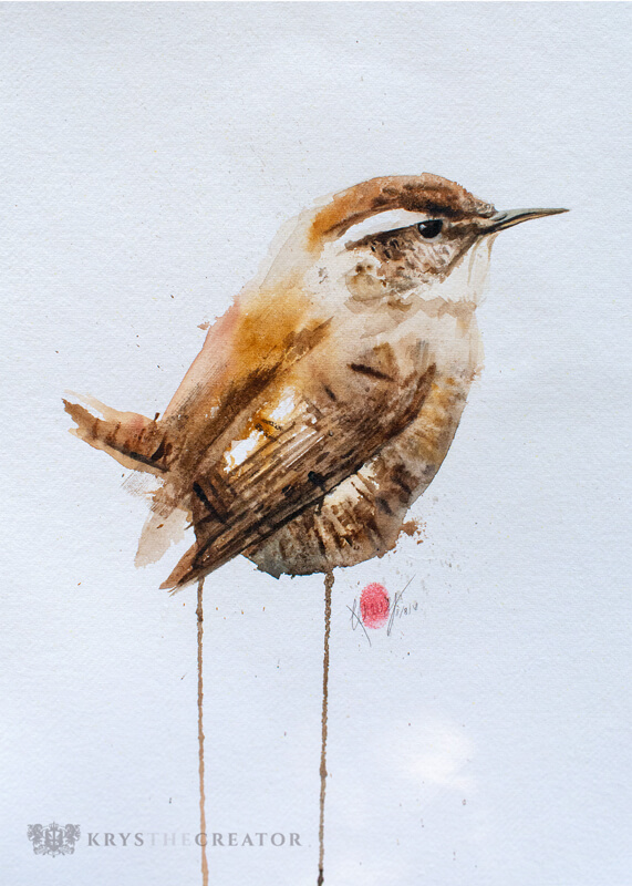 Wren-Watercolour-Wildlife-Painting