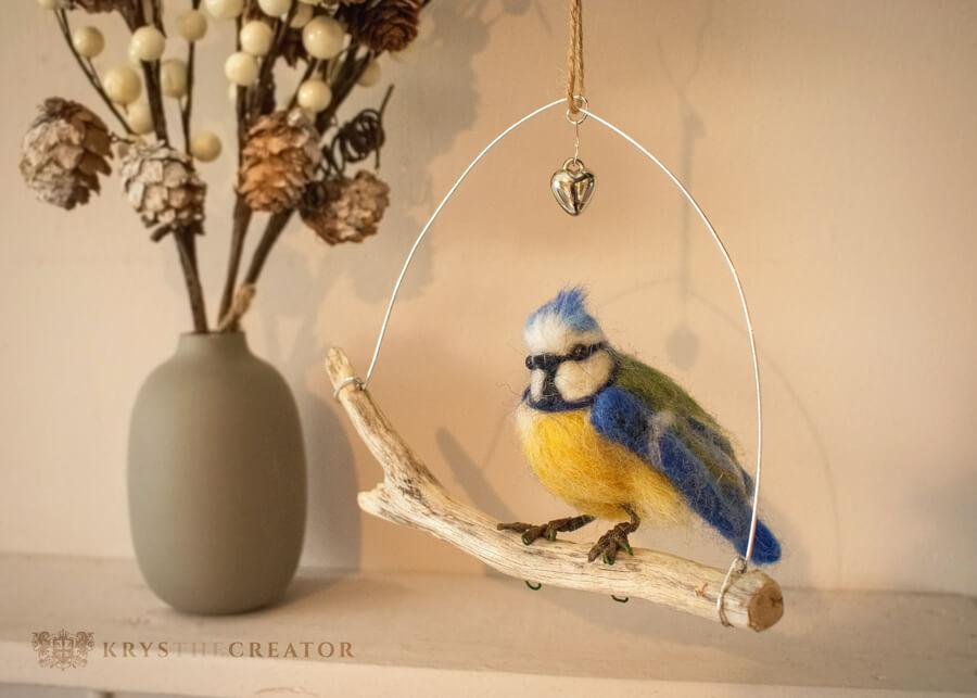 Needle Felted Blue Tit Bird