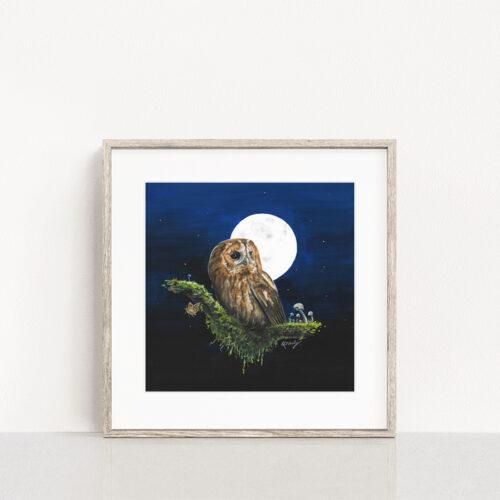 Tawny Owl Painting Wildlife Art Print