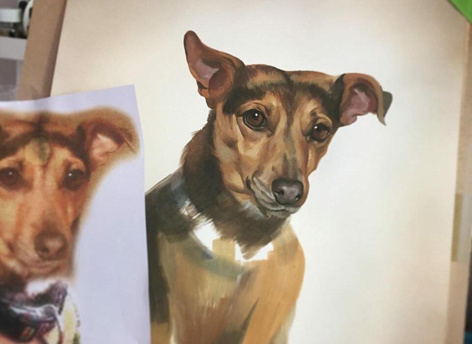 Painted Dog Portrait - Pet Portrait Artist Suffolk