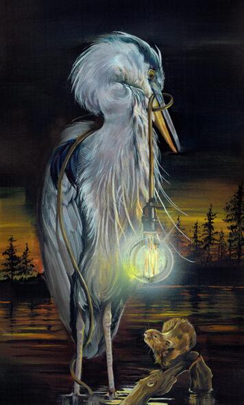 Grey Heron Painting Lighthouse