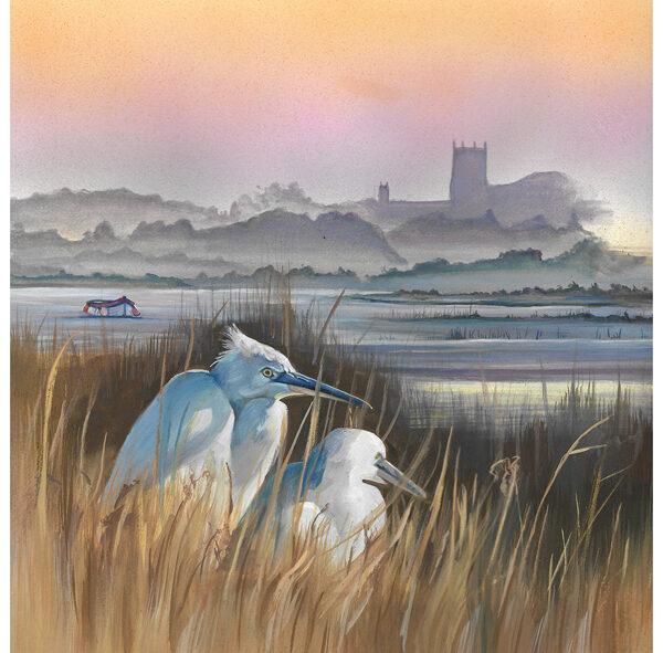 Little Egrets Original Wildlife Painting
