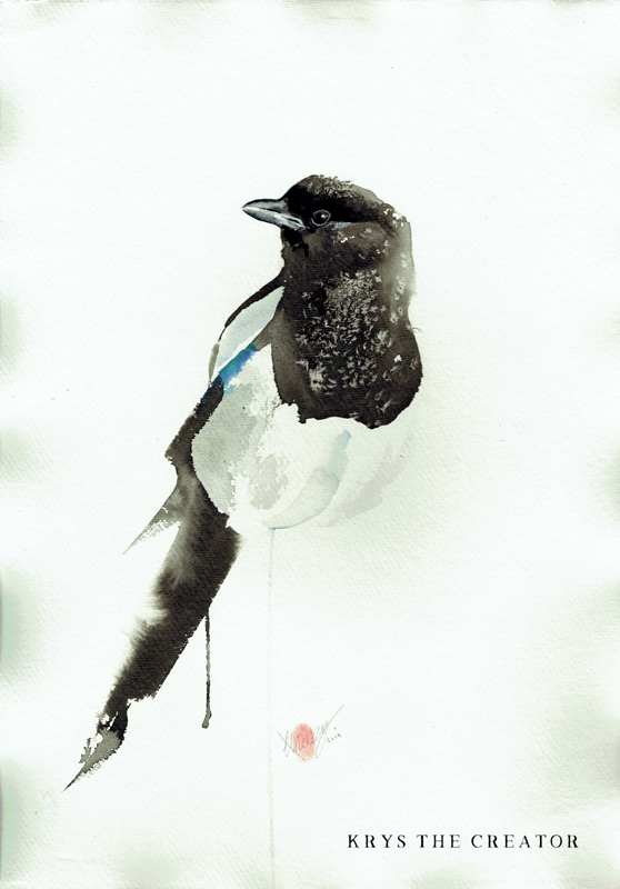 Magpie Watercolour Painting for Sale