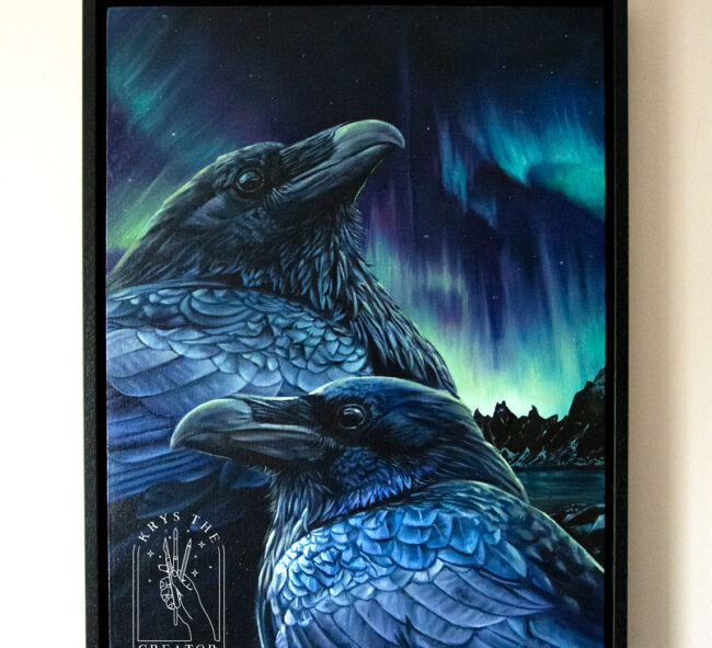 Odin's Ravens Painting 'The Messengers' Northern Lights