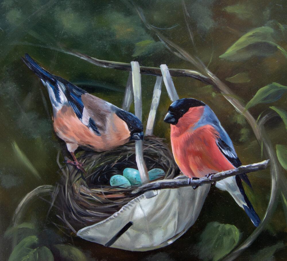 Covid 19 Art - Original Bird Oil Painting by Suffolk Artist Krysten Newby 'Even in the darkest of times'