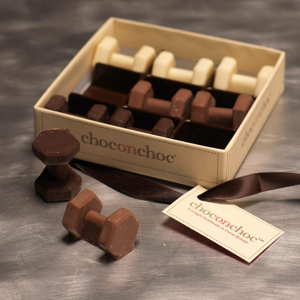 Chocolate Dumbbells in a box
