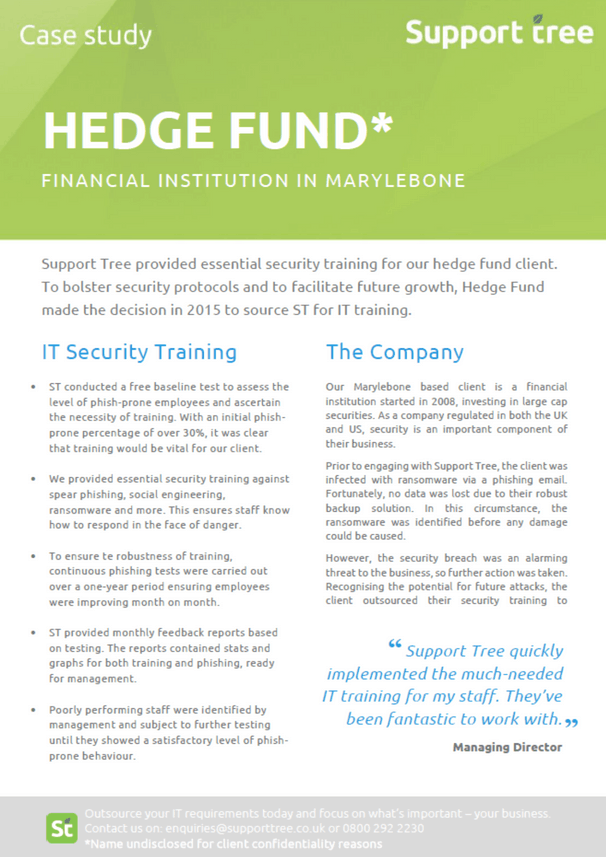 Case Study for our hedge fund client