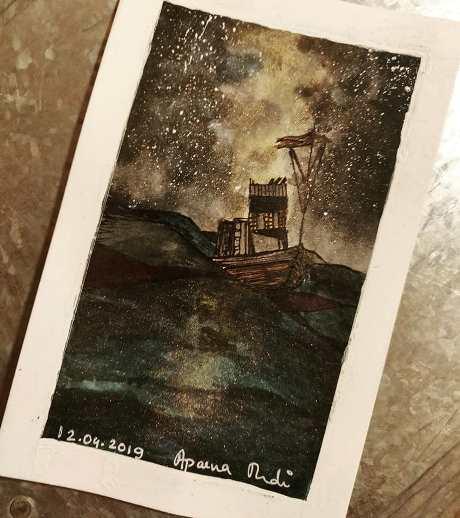 Sea in the night - watercolour on paper -  Artist - Aparna Mudi