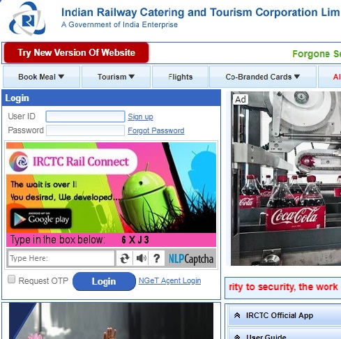 irctc old website