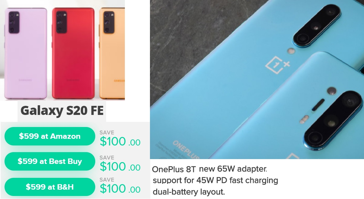 Samsung S20 Deal and OnePlus 8T