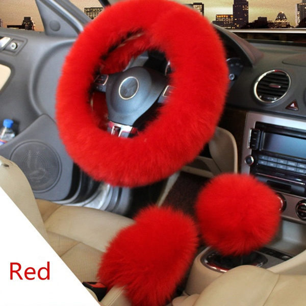 3PCS WINTER FURRY CAR STEERING WHEEL and GEAR KNOB Christmas gift set for her. Unique Christmas gifts for her