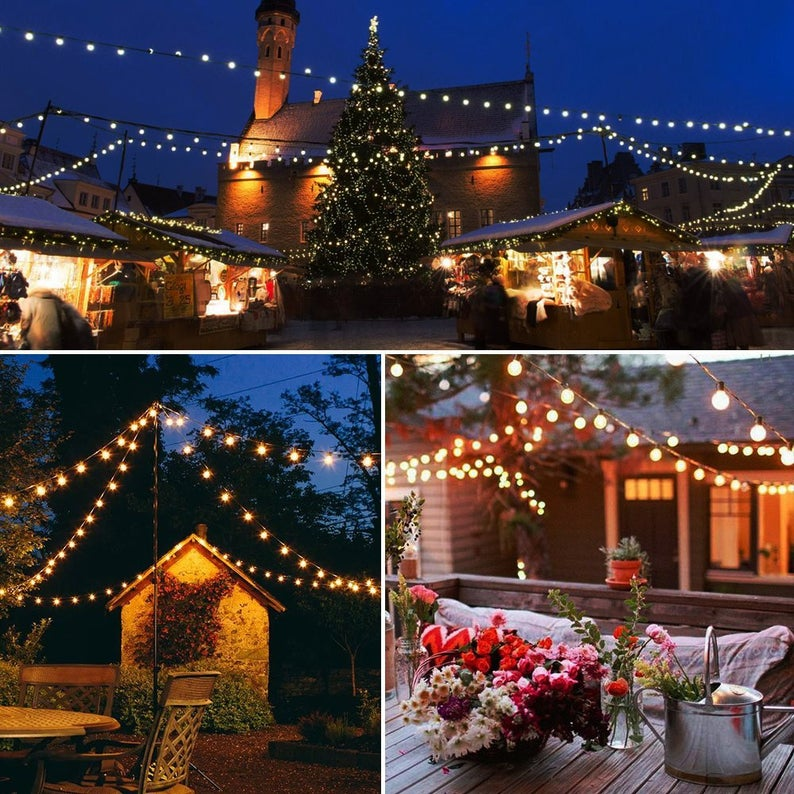 50FT 50 Lights Outdoor LED String Lights for Patio Garden Backyard party