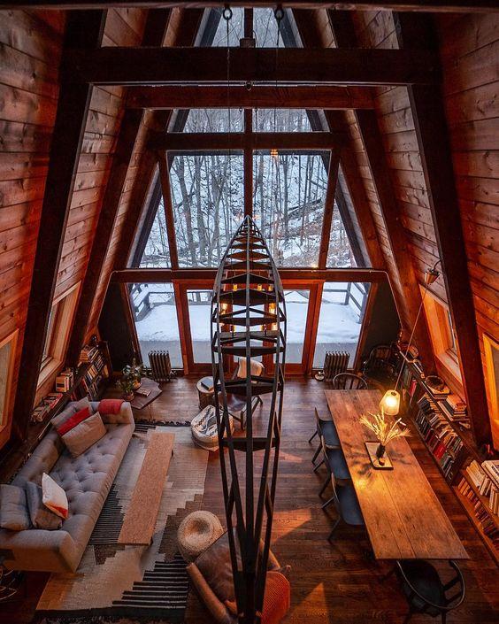 A shape log cabin