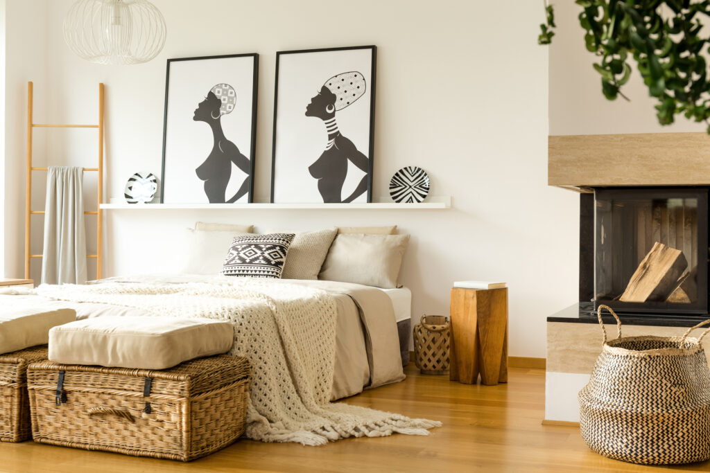 Afro accents bedroom