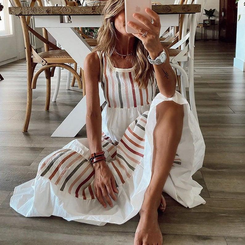 Beach cotton embroidered dress
