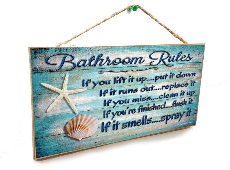 Beach sign bath wall plaque