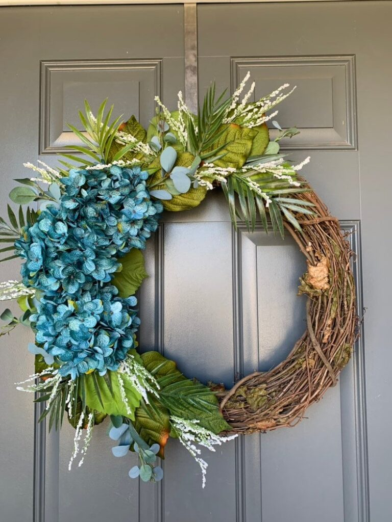 Blue hydrangea and greenery summer wreath for front door