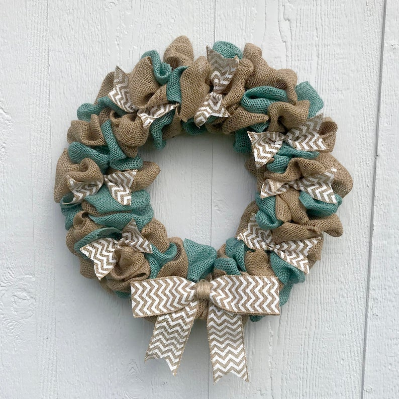 Burlap summer wreath for front door decor