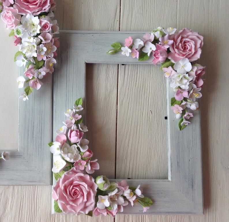 Cherry blossom polymer clay flowers photo frame