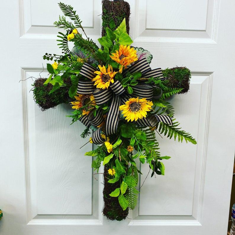 Christian floral summer wreath