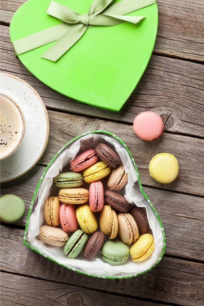 Colourful sophisticated macaroons for Valentines Day