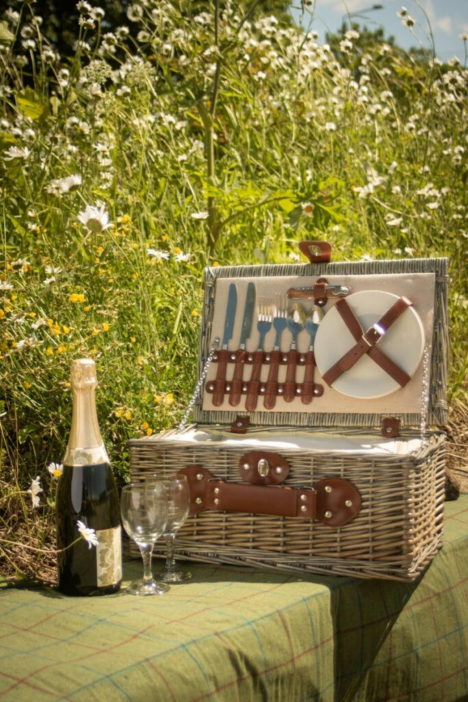 Contemporary Picnic Basket for 2 INCLUDES either 2 free Champagne Glasses
