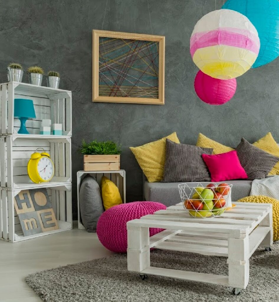 Create a simple yet modern living room decor with white wooden crates