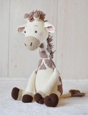 Crochet giraffe Amigurumi toy large stuffed animal Plush giraffe Nursery decor for baby boy girl children personalized